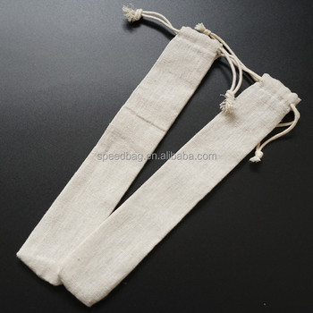 custom logo printed offwhite long linen chopstick drawstring bag