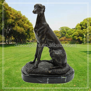 Outdoor Garden Decoration Bronze Black Greyhound Dog Statue