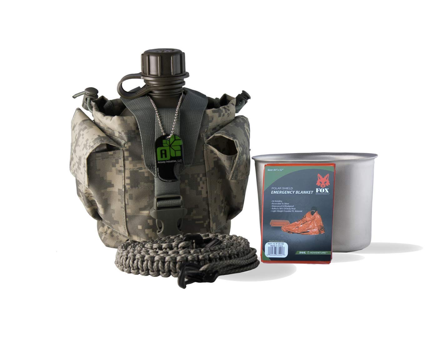 80926158d91 Get Quotations · Arcway Industries Canteen Survival Kit With Military  Canteen