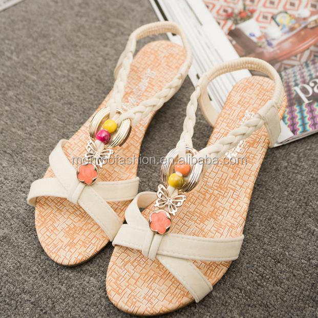 Monroo korean style wedges sandals with beaded ladies fancy sandal beach sandals wholesale