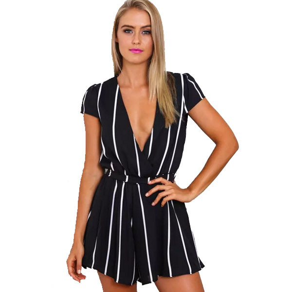 287e43fdbba Get Quotations · New 2015 Fashion Ladies Rompers Black White Stripe Loose Sexy  Women s Jumpsuits Summer Party Chiffon Brand