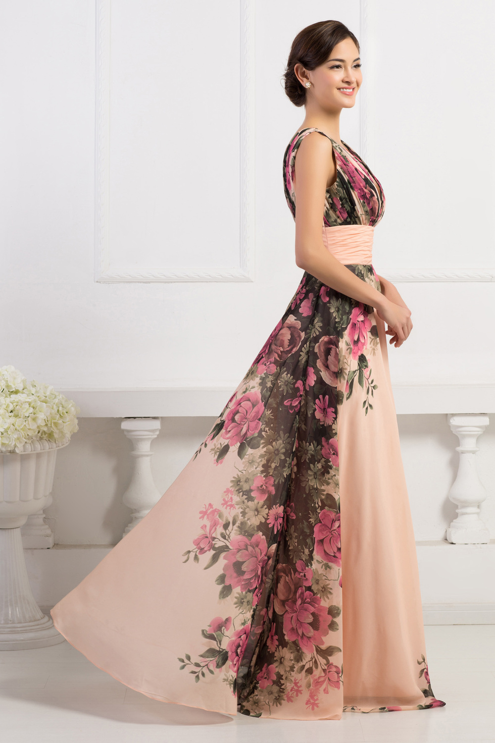 Grace karin deep v neck flower pattern chiffon long floral print grace karin deep v neck flower pattern chiffon long floral print bridesmaid dresses cl7502 ombrellifo Images