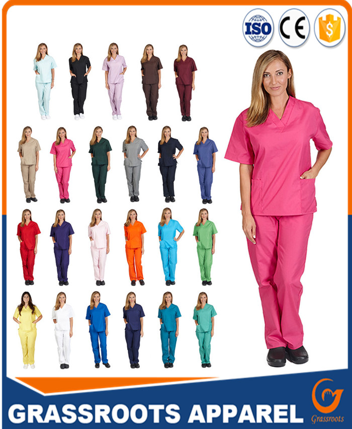 stylish and newest customized scrub affordable spandex/organic cotton non-woven fabric female nursing uniform printed scrub