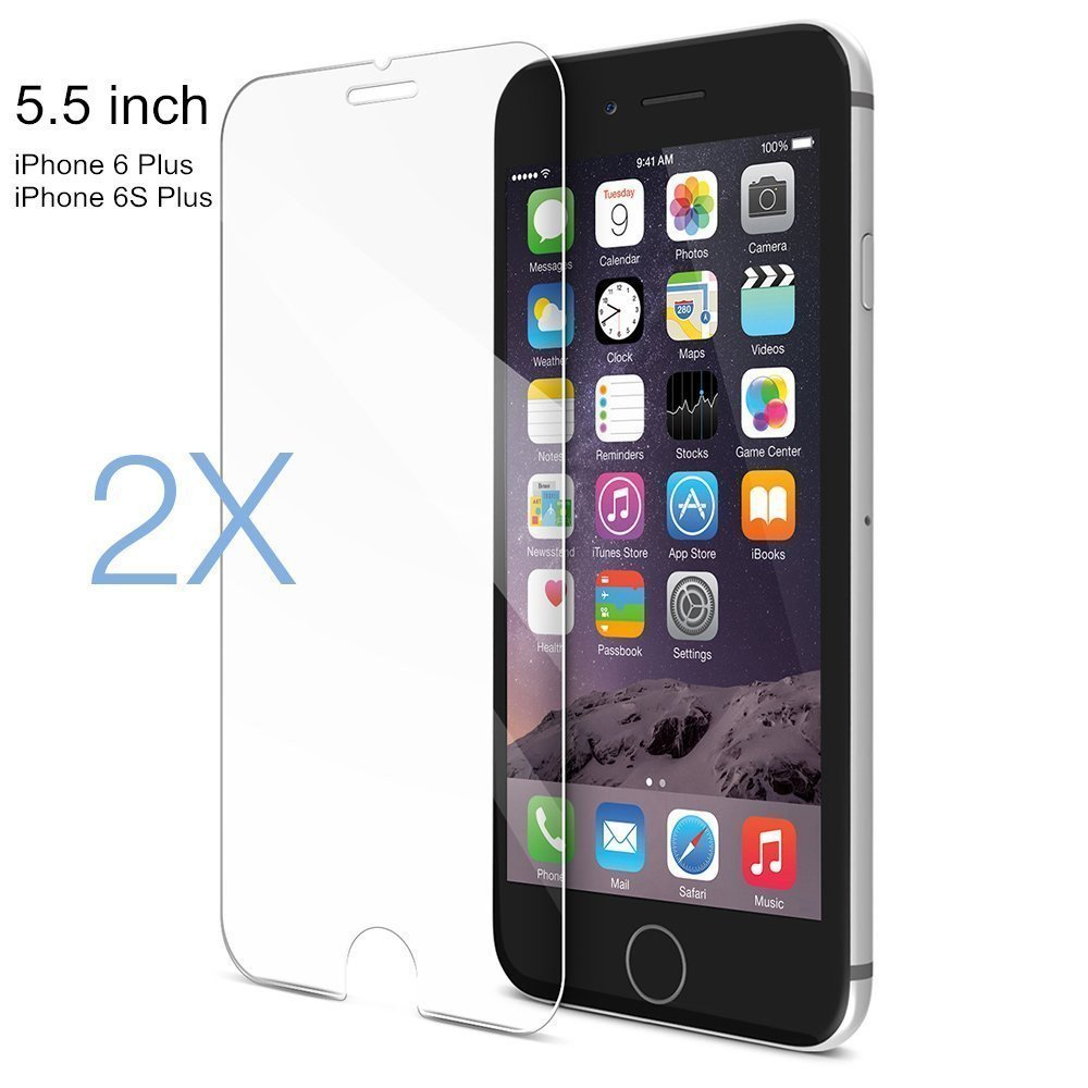 "[2 Pack]L.win Iphone 6 Plus/6s Plus Tempered Glass Screen Protector, 0.33mm Ultra Slim 5.5"" Screen Film with 2.5d Curved Edge for Iphone 6 Plus/6s Plus, Anti-glare, Anti-fingerprint"
