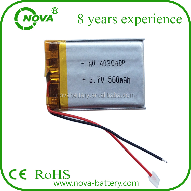 OEM high quality rechargeable battery 3.7v 500mah lipo/lithium polymer battery 403040