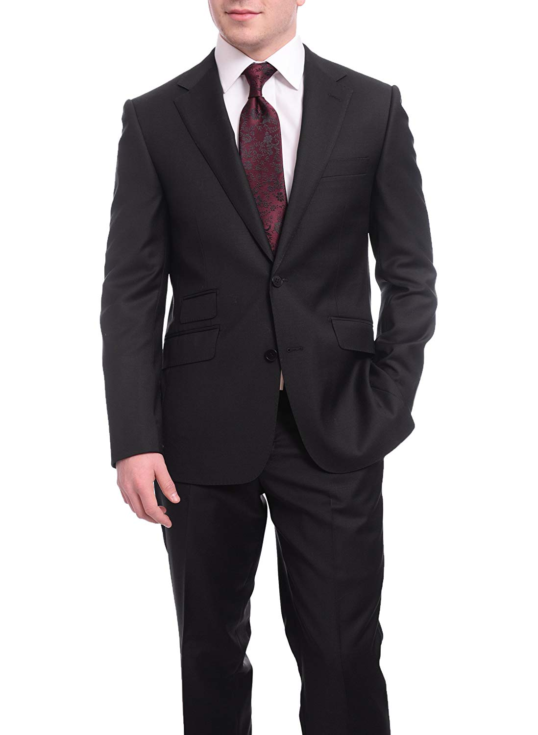 324f89b6885664 Get Quotations · Napoli Slim Fit Solid Black Half Canvassed Wool Cashmere  Suit Ticket Pocket