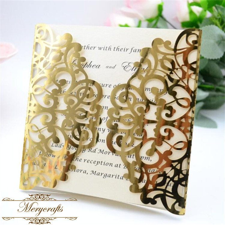 luxury romantic unique luxury metallic gold laser cut wedding invitation card from China printing company
