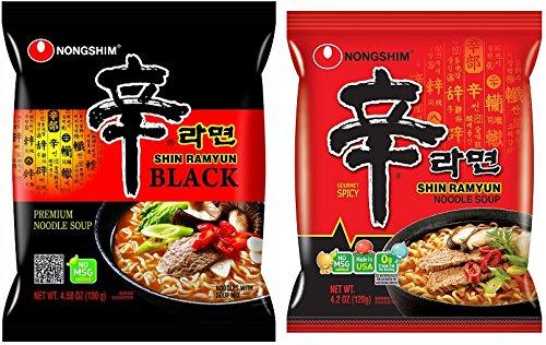 [Shin Ramyun Combo 8packs] Shin Ramyun BLACK (4 packs)+Shin Ramyun Hot Spicy Noodle (4 packs)-(Made in USA) by Nongshim