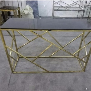 Indoor furniture gold stainless console coffee Tables antique tea table