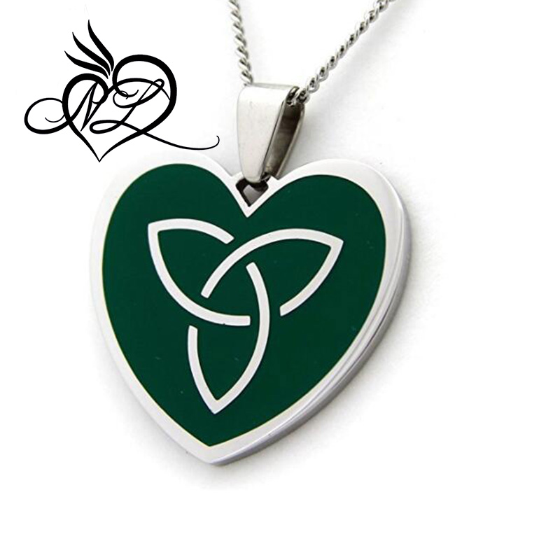 Celtic Knot Necklace - Green Enamel Heart Pendant Necklace - Irish Jewelry - St Patricks Day Jewelry