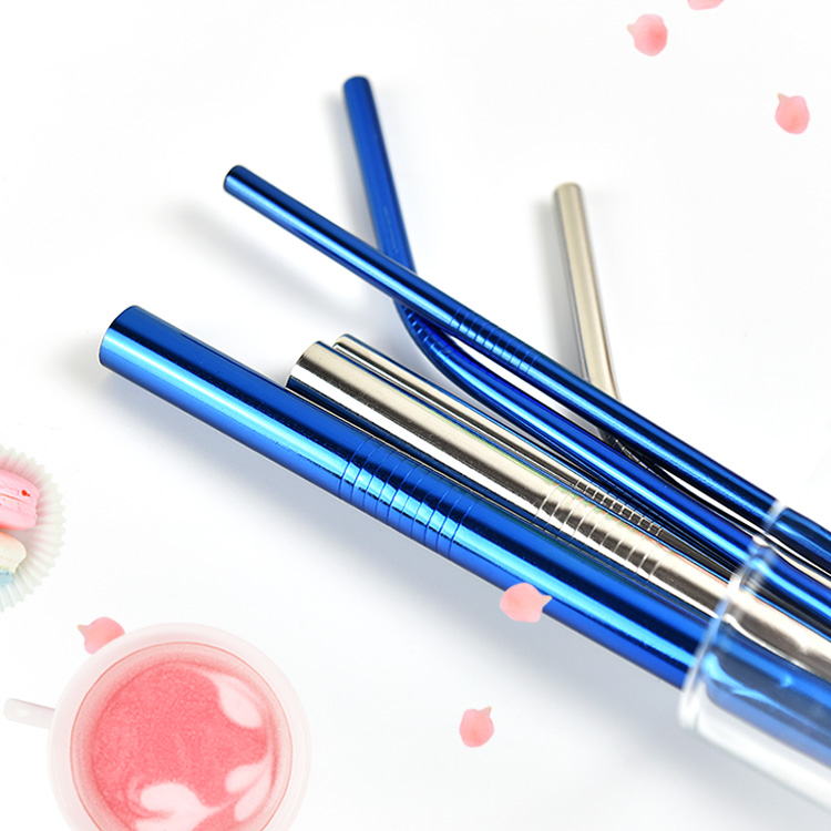 Customized Colorful Stainless Steel Metal Straw Set In Stock