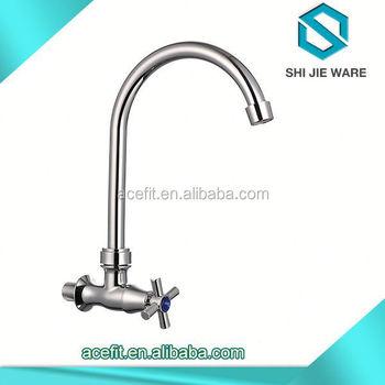 Wall Mounted Long Bridge Spout Kitchen Sink Basin Water Tap Faucets ...