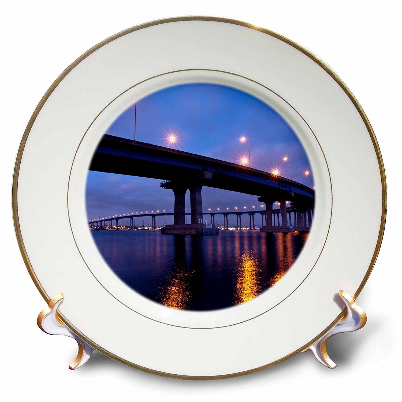 3dRose Danita Delimont - San Diego - California, San Diego, Coronado Bridge curves over San Diego Bay - 8 inch Porcelain Plate (cp_250632_1)