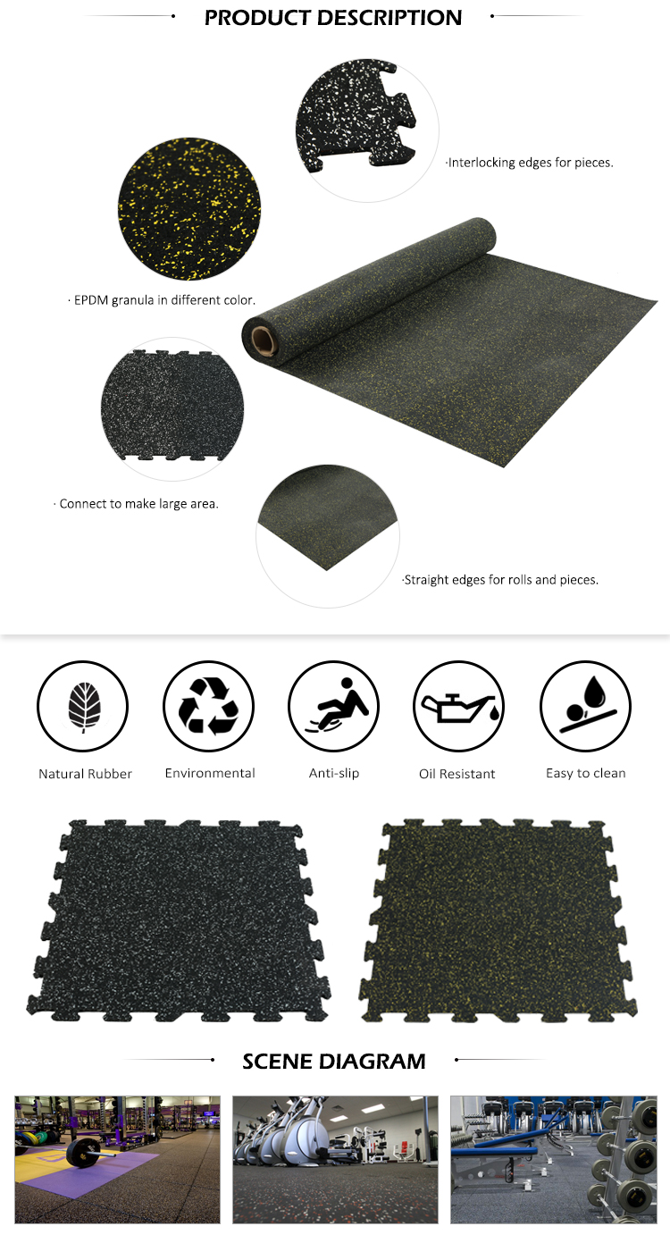 China factory wholesale anti-vibration gym rubber flooring