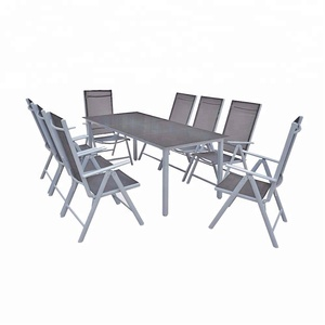 Best selling Alu.garden furniture set sofa set 9pcs seat of furniture 1table 190x87+8chairs silver+black color
