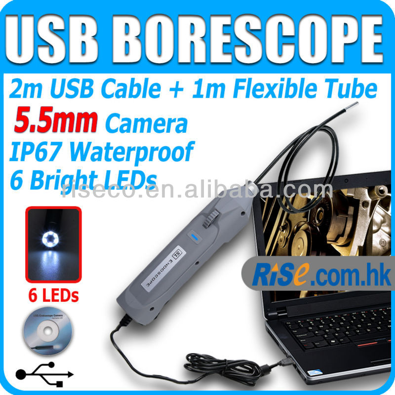Mini USB 1M Tube 5.5mm Slim Borescope 6 LED Snake Endoscope Inspection Camera