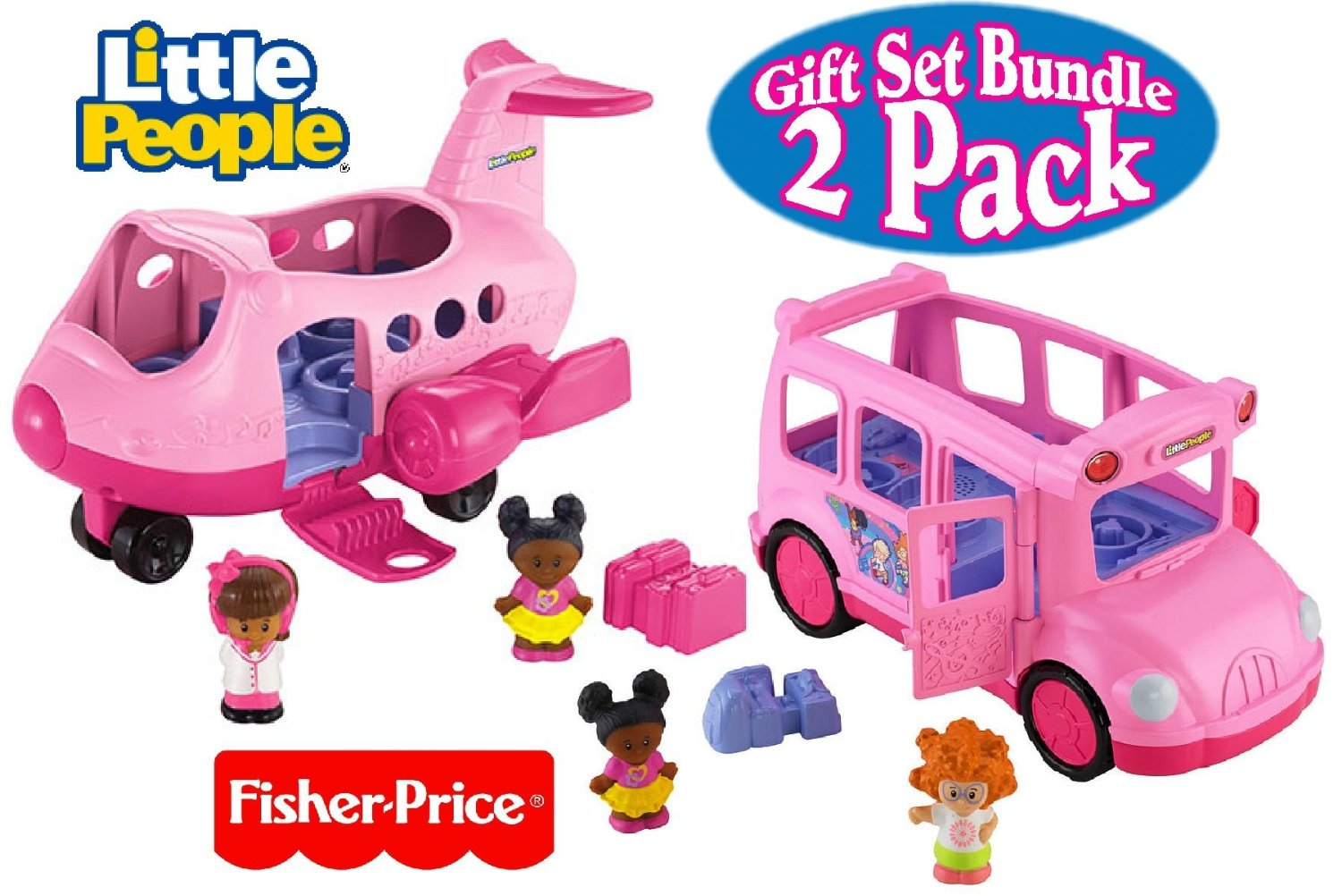 Fisher-Price Little People Lil' Movers (Sing-Along Song, Speech & Sounds) Pink Airplane & Pink School Bus Gift Set Bundle - 2 Pack