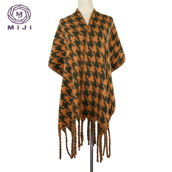 Winter scarf pocket infin plaid cashmere scarf