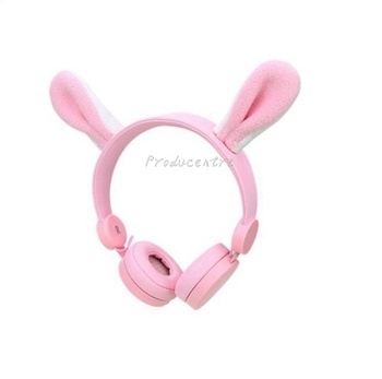 wired detachable rabbit ear Headphone for kids with volume
