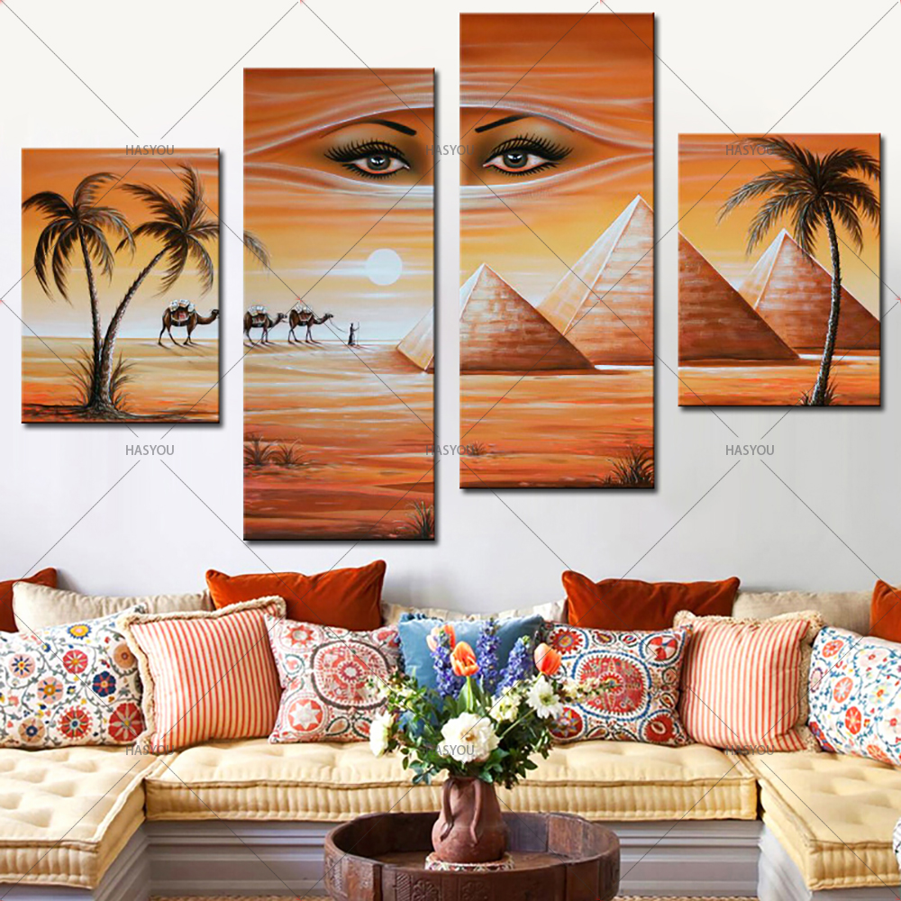 Fantasy-Oil-Painting-Egyptian-Pyramids-Landscape-Hand-Painting-Calligraphy-on-Canvas-Wall-Pictures-4-Pieces-Pictures