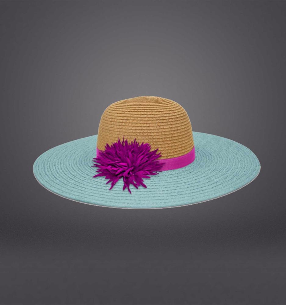 2e41ef9cc028b 0.8 material de papel dos colores juntas Floppy sombrero con decoración de  flores de alta calidad