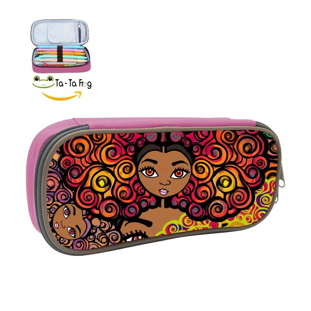 Pencil Case Colorful Afro Africa Girl 3D Printed School Pen Bag Big Capacity Double Zipper Durable Students Stationery Multipurpose Makeup Pouch Buggy Bag for Boys Pink