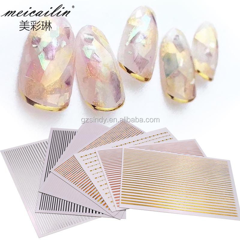 Metal Strip Tape 3D Nail Sticker  Adhesive Stripe Lines DIY