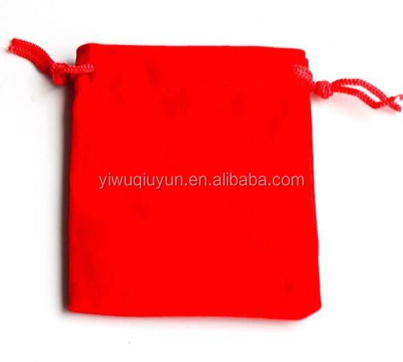 15*15cm Red Velvet Bags Drawable Jewellry Gift Packaging Storage Pouches Custom Logo Printing