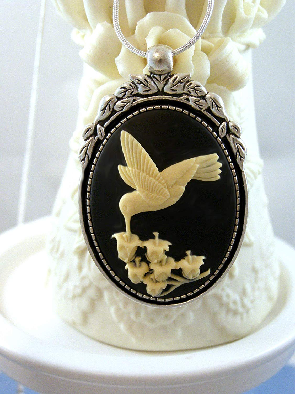 c364a04d8 Black Hummingbird Cameo Jewelry Set- 2