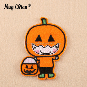 custom cartoon halloween clothes accessory embroidery pumpkin patch for kids