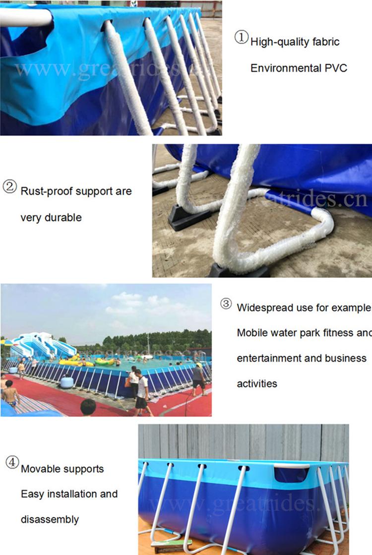 Jogos de parque aquático de alta qualidade grande armação de metal retangular piscina para crianças e adultos