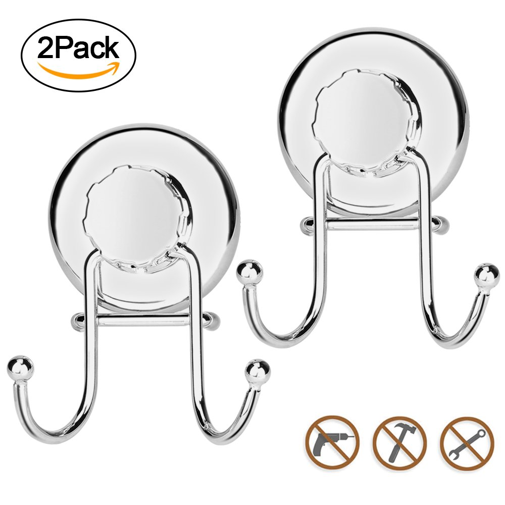 AOFU Suction Cup Hooks, Powerful Vacuum Shower Towel Hook Holder Accessories, Strong Stainless Steel Hooks for Bathroom & Kitchen,Towel Hanger Storage,Bath Robe, Coat, Loofah,Chrome (2 Pack)