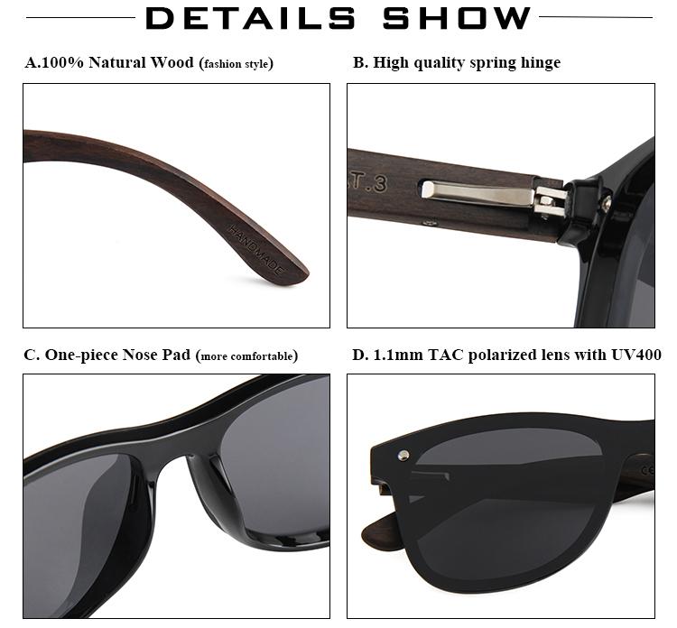 15e913c79e4 2018 custom cat.3 uv400 mens one piece lens wooden temple polarized  sunglasses