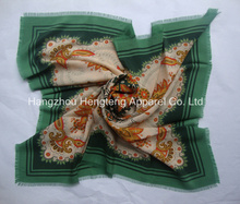 100% Silk Square Scarf with Fringe