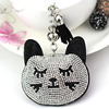 Metal Crystal Christmas Cat Key Ring Unisex Car Keychain Women Charms HandBag Pendant Key chains Jewelry