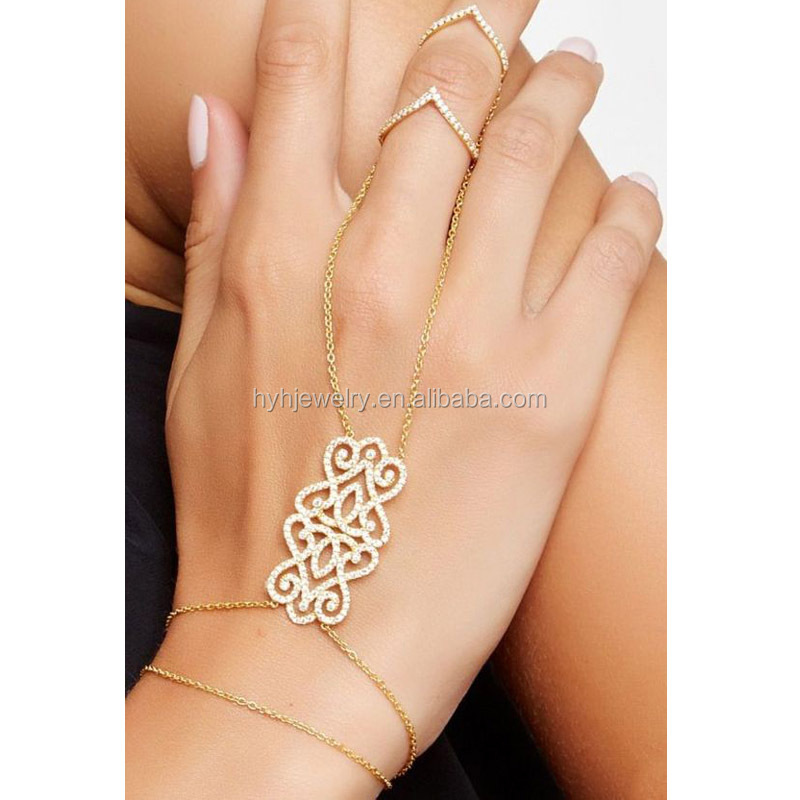 Trendy Style Vintage Gold Bracelet Hand Chain Attached Ring