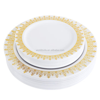 Plastic PS plates charger plates with gold rim dinnerware set