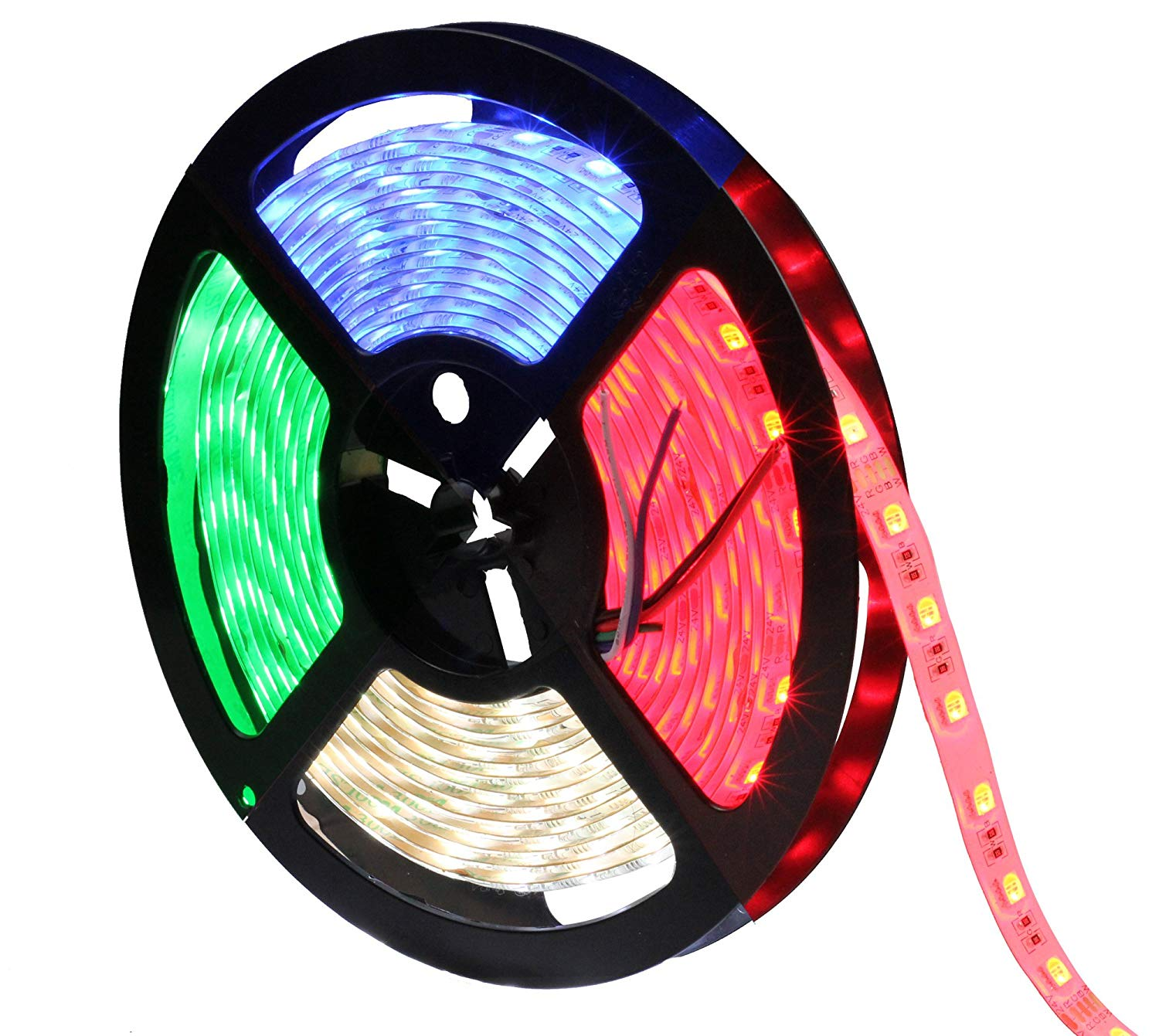 INVOLT 16.4Ft 5050 RGBW LED Strip 300LEDs, RGBCW RGB+Cool Whtie 4 in 1 Mixed Color 60leds/m, IP65 Waterproof in Slicone Coating, Multi-colored Tape Ribbon Lights w/Strong Sticker