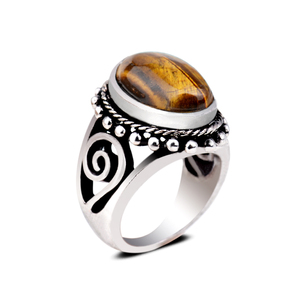 Gorgeous Natural Tiger Eye Stone Gems Ring Retro Band Jewelry Antique Silver Plating Rings For Men