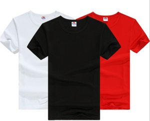 Male and female short sleeved blank t-shirts advertising and work clothing