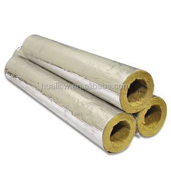 Aluminum foil covered heat insulation density 120kg m3 for Rockwool pipe insulation prices