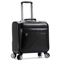 Hot selling spinner wheel 16 inch aluminium trolley pilot carry on leather luggage