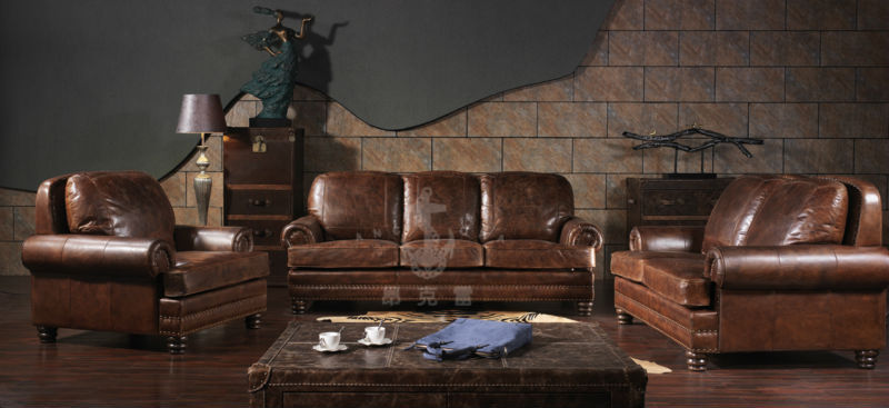 american antike vintage stil zwei sitze braun leder sofa. Black Bedroom Furniture Sets. Home Design Ideas