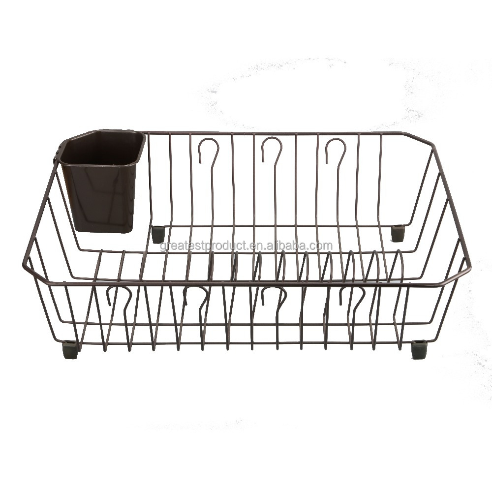 Commercial stainless steel dish rack used on kitchen table