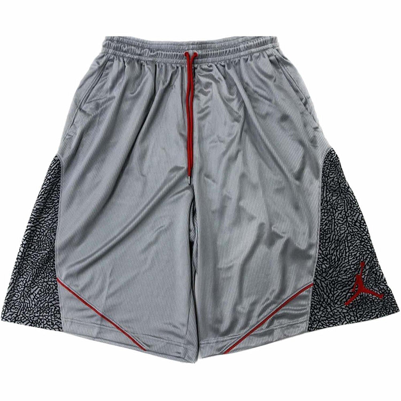6f53676183cec5 Nike Air Jordan Elephant Print Basketball Shorts Wolf Grey Black Light  Crimson 589346-