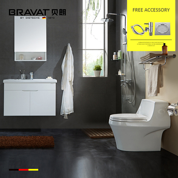 Bravat Gina Solid Wood Bathroom Vanity Toilet Bowl Rain Hand Shower Combo  Set