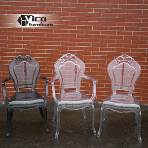 New design royal style acrylic crystal clear pc transparent wedding chair