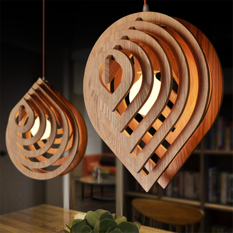 This Lantern Inspired House Design Lights Up A California: Rain Drop LED Wood Pendant Light Rustic Lighting Fixtures