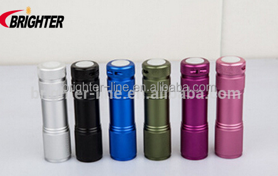 Hot Sale Cheap Mini 9 LED Flashlight, UV Flashlight, Black Light Flashlight