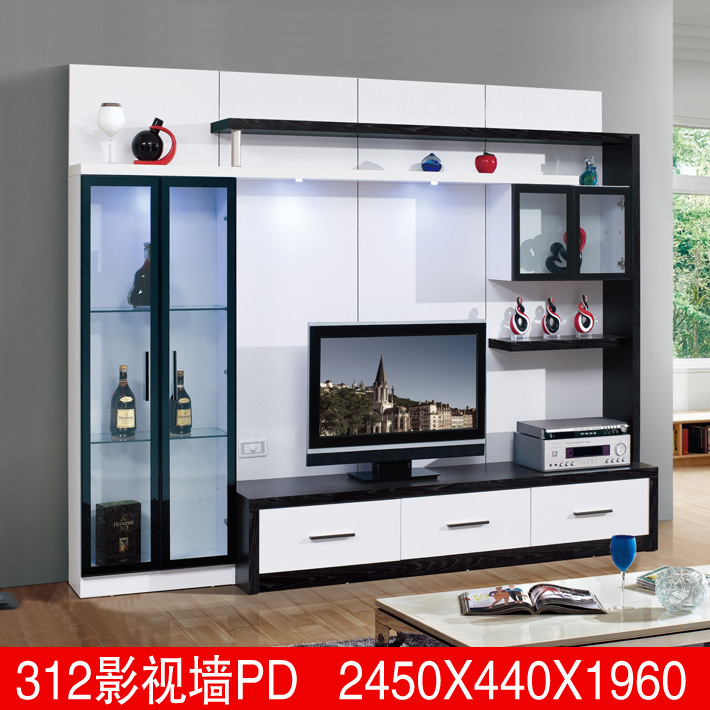 Living room furniture lcd tv wall unit wood led tv wall for Simple lcd wall unit designs